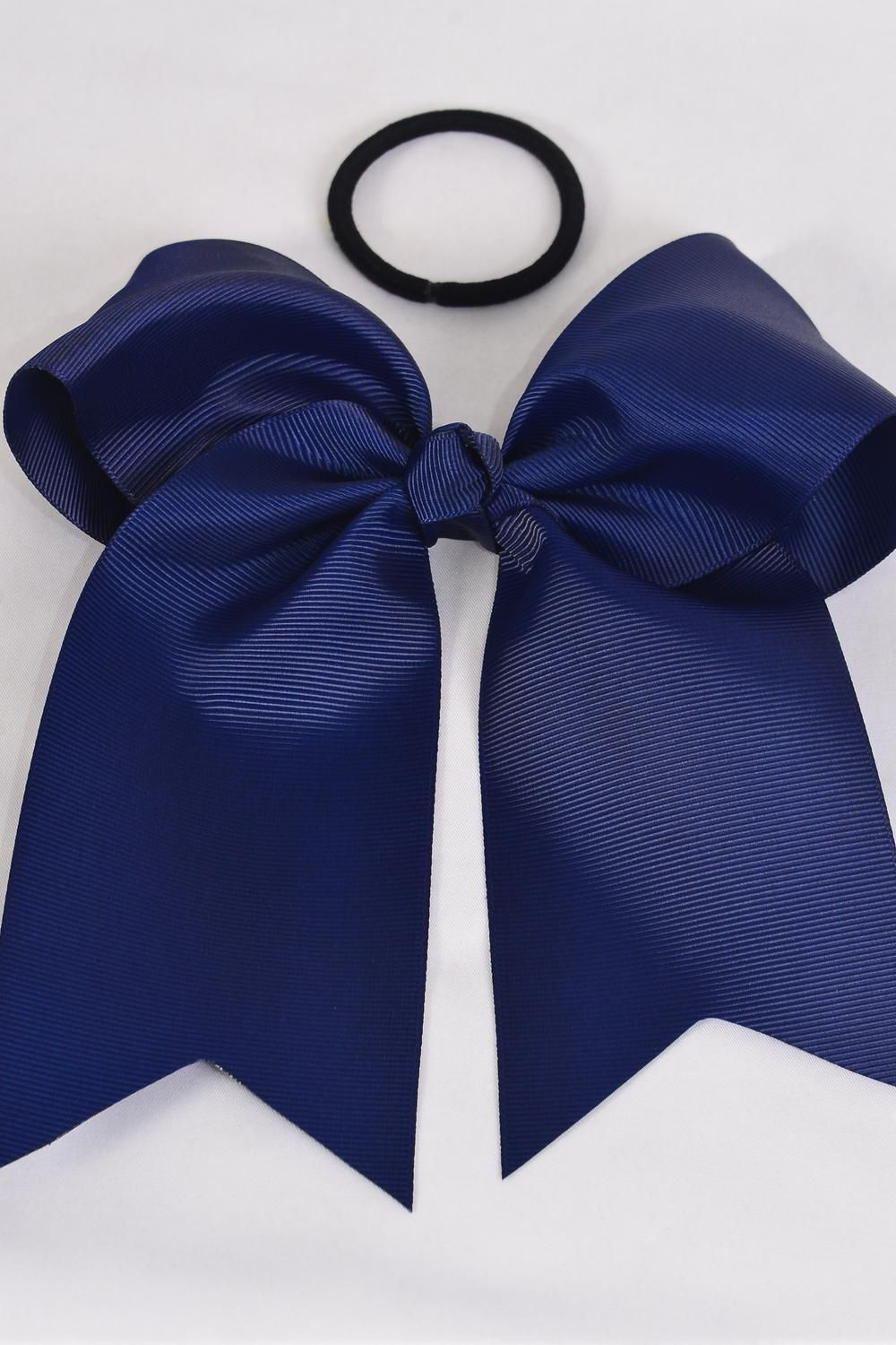"Hair Bow Extra Jumbo Long Tail Cheer Type Bow Navy Elastic Grosgrain Bow-tie/DZ **Navy** Elastic,Size-6.5""x 6"" Wide,Clip Strip & UPC Code"