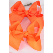 "Hair Bow Jumbo Orange Mix Grosgrain Fabric Bow-tie/DZ **Alligator Clip** Size-6""x 5"" Wide,6 of each Color Asst,Clip Strip & UPC Code"