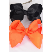 "Hair Bow Extra Jumbo Black & Orange Mix Grosgrain Fabric Bow-tie/DZ **Alligator Clip** Size-6""x 5"" Wide,6 Black,6 Orange Mix,Clip Strip & UPC Code"