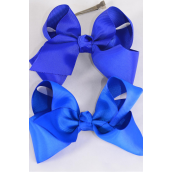 "Hair Bow Extra Jumbo Royal Blue Mix Grosgrain Bow-tie/DZ **Royal Blue Mix** Alligator Clip,Size-6""x 5"" Wide,6 of each Color Asst,Clip Strip & UPC Code"