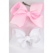 "Hair Bow Extra Jumbo Baby Pink & White Mix Grosgrain Bow-tie/DZ **Alligator Clip** Size-6""x 5"" Wide,6 White,6 Baby Pink Mix,Clip Strip & UPC Code"