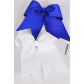 "Hair Bow Extra Jumbo Long Tail Cheer Type Bow Royal Blue & White Grosgrain Bow-tie/DZ **Royal Blue & White Mix** Alligator Clip,Size-6.5""x 6"" Wide,6 of each Color Asst,UPC Code,W Clip Strip"