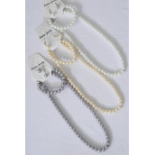 "Necklace Sets 3 pcs 8 mm Glass Pearls 18 inch Long White Pearl/DZ 20"" Long,Bracelet is Stretch,4 White,4 Cream,4 Gray Pearl Mix,Hang Tag & opp bag & UPC Code -"