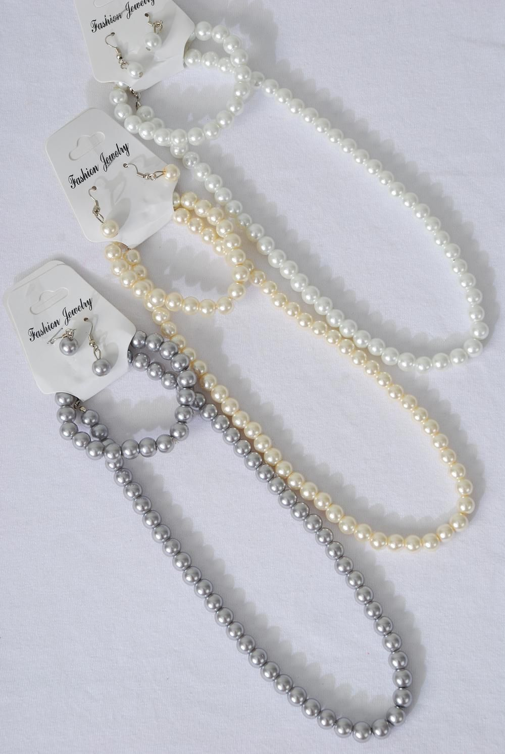 "Necklace Sets 3 pcs 8 mm Glass Pearls 18 inhn Long White Pearl/DZ 20"" Long,Bracelet is Stretch,4 White,4 Cream,4 Gray Pearl Mix,Hang Tag & opp bag & UPC Code -"