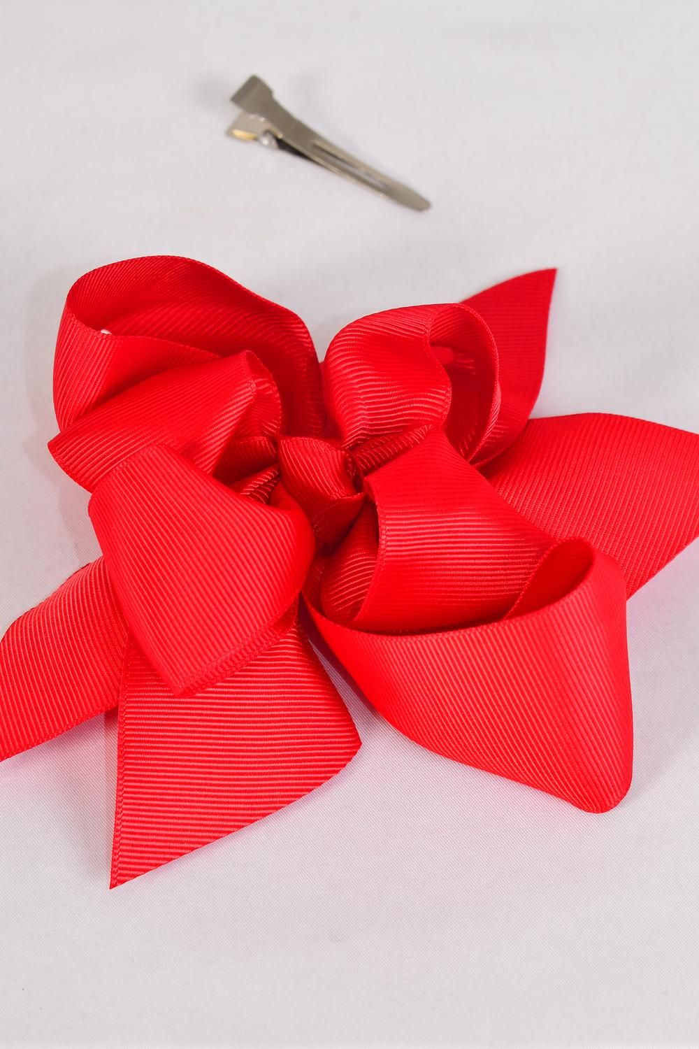 "Hair Bow Large Double Layer Bow Red Grosgrain Bow-tie/DZ **Red** Alligator Clip,Bow-6""x 6"" Wide,Clip Strip & UPC Code"