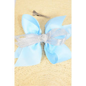 "Hair Bow Jumbo Center Metallic Silver Bowtie Grosgrain Bow Baby Blue/DZ **Baby Blue** Alligator Clip,Size-6""x 6"" Wide,Clip Strip & UPC Code"