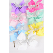 "Hair Bow Jumbo Center Metallic Silver Bowtie Grosgrain Bow Pastel/DZ **Pastel** Alligator Clip,Size-6""x 6"" Wide,2 White,2 Pink,2 Yellow,2 Lavender,2 Blue,1 Hot Pink,1 Green,7 Color Mix,Clip Strip & UPC Code"