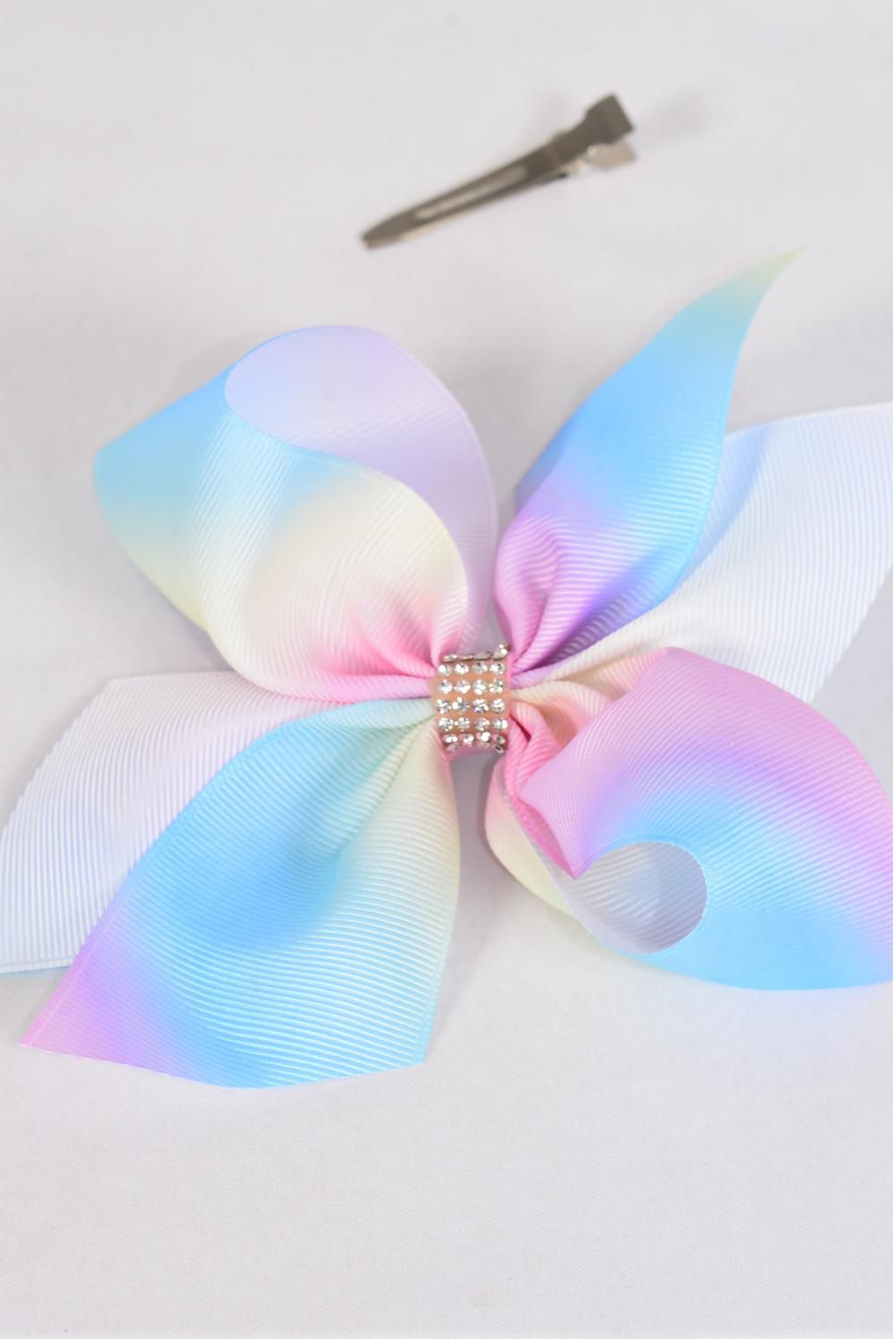 "Hair Bow Extra Jumbo Tiedye Pastel Center Clear Stones Grosgrain Bow-tie/DZ **Alligator Clip** Size-6""x 6"" Wide,Clip Strip & UPC Code"