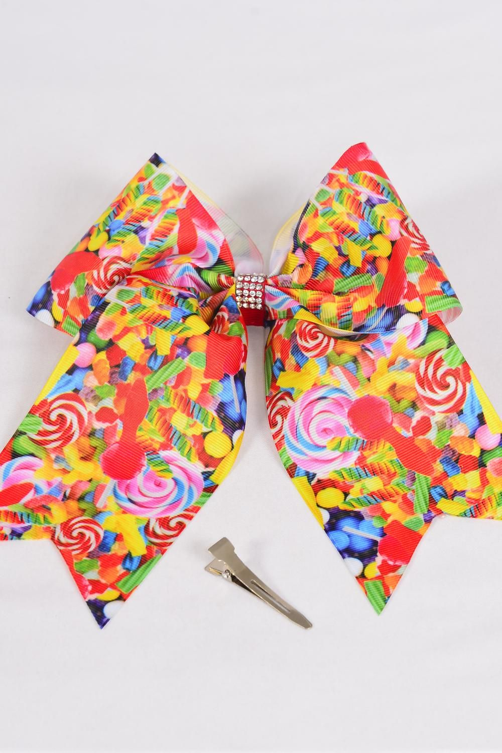 "Hair Bow Extra Jumbo Long Tail Cheer Type Bow Lollipops Grosgrain Bow-tie/DZ **Alligator Clip** Size-7""x 6"" Wide,Clip Strip & UPC Code"