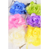 "Silk Flower Rose Mesh & Feathers Alligator Clip & Brooch Pastel/DZ **Pastel** Size-5"" Wide,2 of each Color Asst,Alligator Clip & Brooch,Display Card & UPC Code,W Clear Box -"