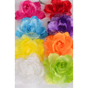 "Silk Flower Large 2 tone Citrus Baby Breath Alligator Clip/DZ **Citrus** Size-5"" Wide,Alligator Clip & Brooch,2 Fuchsia,2 White,2 Blue,2 Yellow,1 Purple,1 Red,1 Lime,1 Orange mix, Hang Tag & UPC Code,W Clear Box"