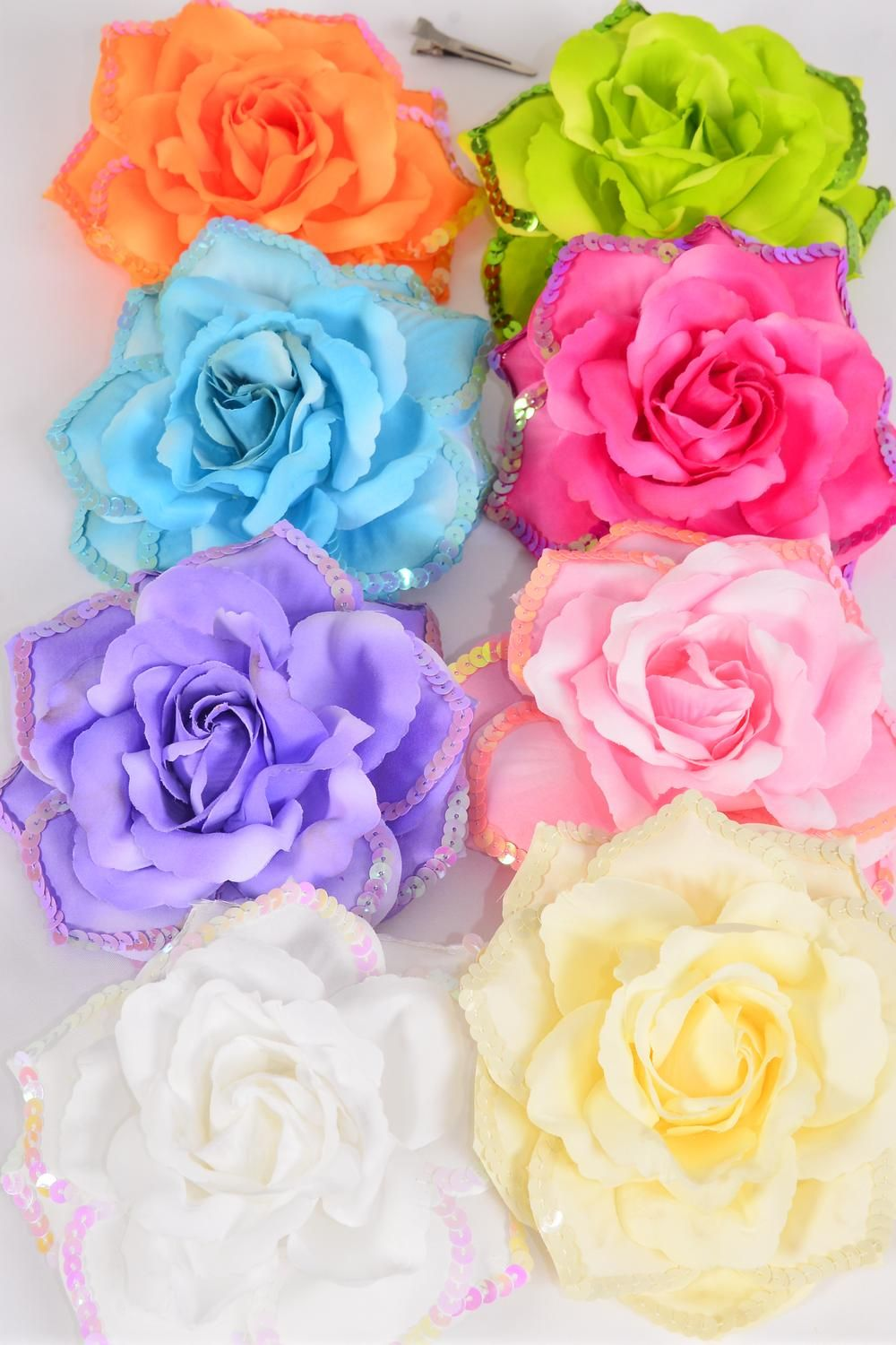 "Silk Flower Tea Rose Sequin Alligator Clip Pastel Color Mix/DZ **Pastel** Size-6"" Wide,Alligator Clip & Brooch & Elastic Pony,2 White,2 Baby Pink,2 Beige,2 Lavender,1 Blue,1 Hot Pink,1 Orange,1 Lime,8 Color Asst"