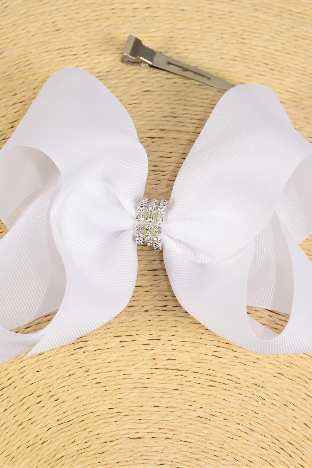"Hair Bow Extra Jumbo Center Clear Stones White Grosgrain Bowtie/DZ **White** Alligator Clip,Bow-6""x 5"" Wide,Clip Strip & UPC Code"