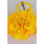"Silk Flower Jumbo 2 tone Lace Yellow/DZ **Yellow** Size-6"" Wide,Alligator Clip & Brooch & Elastic Pony,Display Card UPC Code,Clear Box"