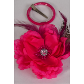 "Silk Flower Wild Feathers Alligator Clip Fuchsia/DZ **Fuchsia** Size-5"" Wide,Alligator Clip & Elastic Pony & Brooch,Display Card UPC Code,Clear Box"