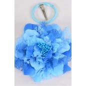 "Silk Flower Jumbo 2 tone Lace Blue/DZ **Blue** Size-6"" Wide,Alligator Clip & Brooch & Elastic Pony,Display Card UPC Code,Clear Box"