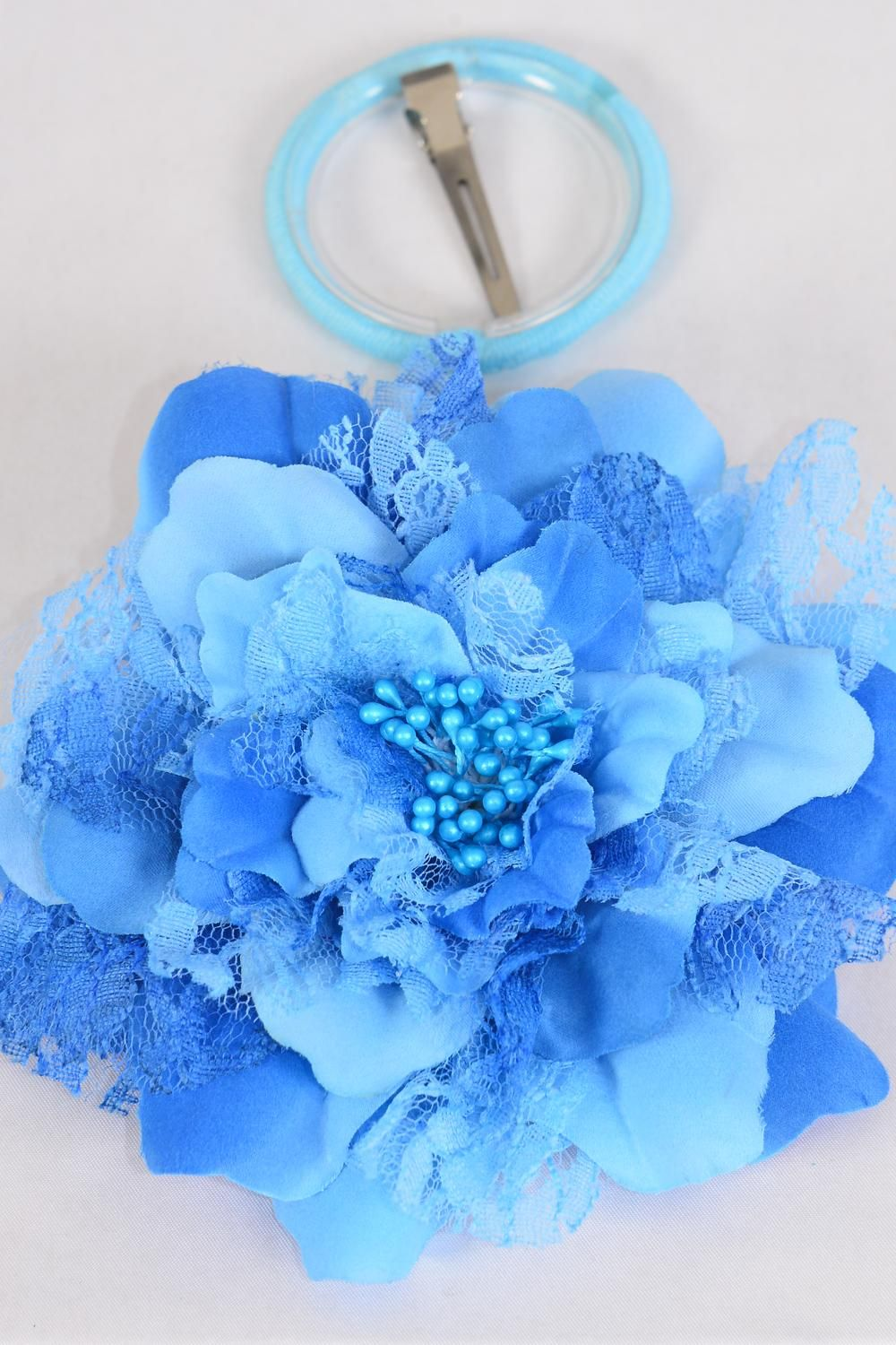"Silk Flower Jumbo 2 tone Lace Blue/DZ **Blue** Size-6"" Wide,Alligator Clip & Brooch & Elastic Pony,Display Card UPC Code,Clear Box"