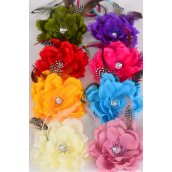 "Silk Flower Multi Wild Feathers Alligator Clip Brooch & Elastic Pony/DZ **Multi** Size-5"" Wide,Alligator Clip & Elastic Pony & Brooch,2 Red,2 Fuchsia,2 Beige,2 Purple,1 Turquoise,1 Yellow,1 Olive,1 Mauve,8 Color Asst"