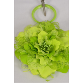 """Silk Flower Jumbo 2 tone Lace Lime/DZ **Lime** Size-6"""" Wide,Alligator Clip & Brooch & Elastic Pony,Display Card UPC Code,Clear Box"""