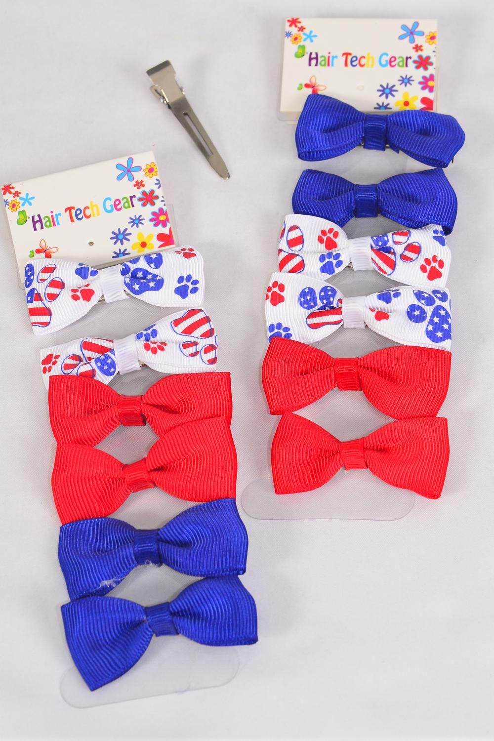 "Hair Biw Grosgrain Bow-tie 6 pcs Patriotic-Flag Paw Print Red White Blue Mix/DZ **Flag Paw Print** Alligator Clip,Bow Size-2.5""x 1"" Wide,6 pcs per card,12 card=Dozen"