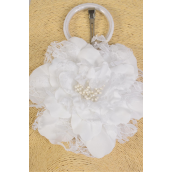 "Silk Flower Jumbo 2 tone Lace White/DZ **White** Size-6"" Wide,Alligator Clip & Brooch & Elastic Pony,Display Card UPC Code,Clear Box"