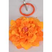 "Silk Flower Jumbo 2 tone Lace Orange/DZ **Orange** Size-6"" Wide,Alligator Clip & Brooch & Elastic Pony,Display Card UPC Code,Clear Box"