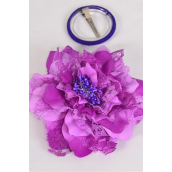 "Silk Flower Jumbo 2 tone Lace Lilac/DZ **Lilac** Size-6"" Wide,Alligator Clip & Brooch & Elastic Pony,Display Card UPC Code,Clear Box"