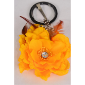 "Silk Flower Wild Feathers Alligator Clip Yellow/DZ **Yellow** Size-5"" Wide,Alligator Clip & Elastic Pony & Brooch,Display Card UPC Code,Clear Box"