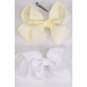"Hair Bow Jumbo Beige & White Mix 6""x 5"" Grosgrain Bow-tie/DZ **Beige & White** Alligator Clip,Size-6""x 5"" Wide, 6 of each Color Asst,Clip Strip & UPC Code"