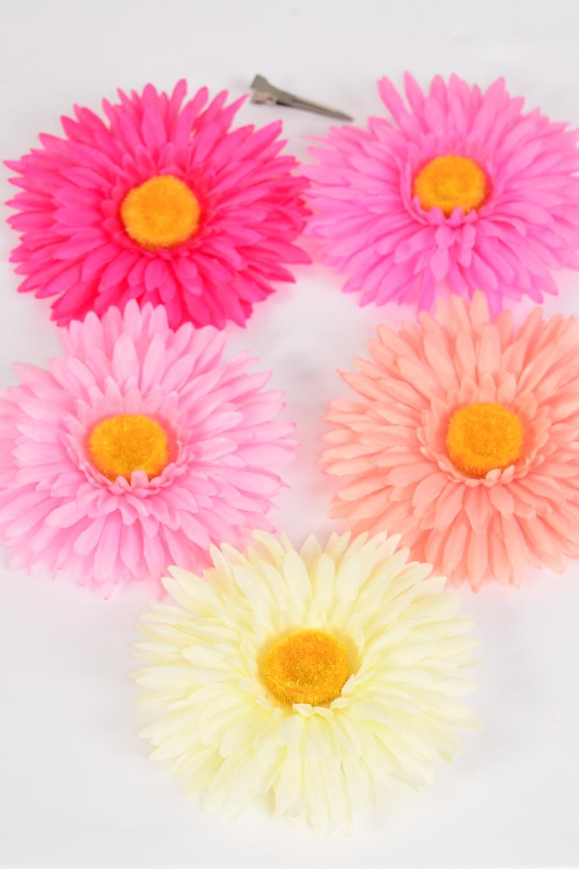 Silk Flower Large Gerber Daisy Life Like Pink Mix Alligator Clip