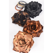 "Silk Flower Tea Rose Sequin Browntone Mix Alligator Clip/DZ **Brown Tone Mix** Size-6"" Wide,Alligator Clip & Brooch & Elastic Pony,3 of each Color Asst,Display Card & UPC Code,W Clear Box"