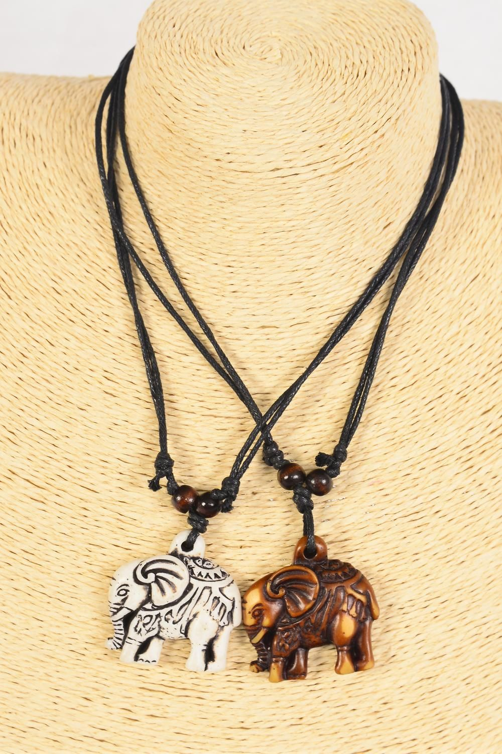 "Men's Necklace Elephant Poly Black & Brown Asst/DZ **Adjustable** ElephantSize-1.5""x 1.5"" Wide,6 Black & 6 Brown Mix,6 of each Color Asst,Hang Tag & OPP Bag & UPC Code -"