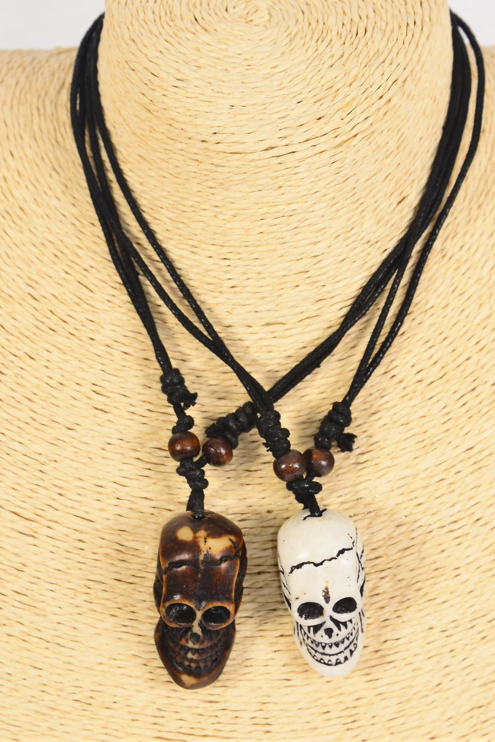 "Men's Necklace Skull Poly Black & Brown Asst/DZ **Adjustable** Skull Size-1.5""x 0.75"" Wide,6 Black & 6 Brown Mix,6 of each Color Asst,Hang Tag & OPP Bag & UPC Code -"