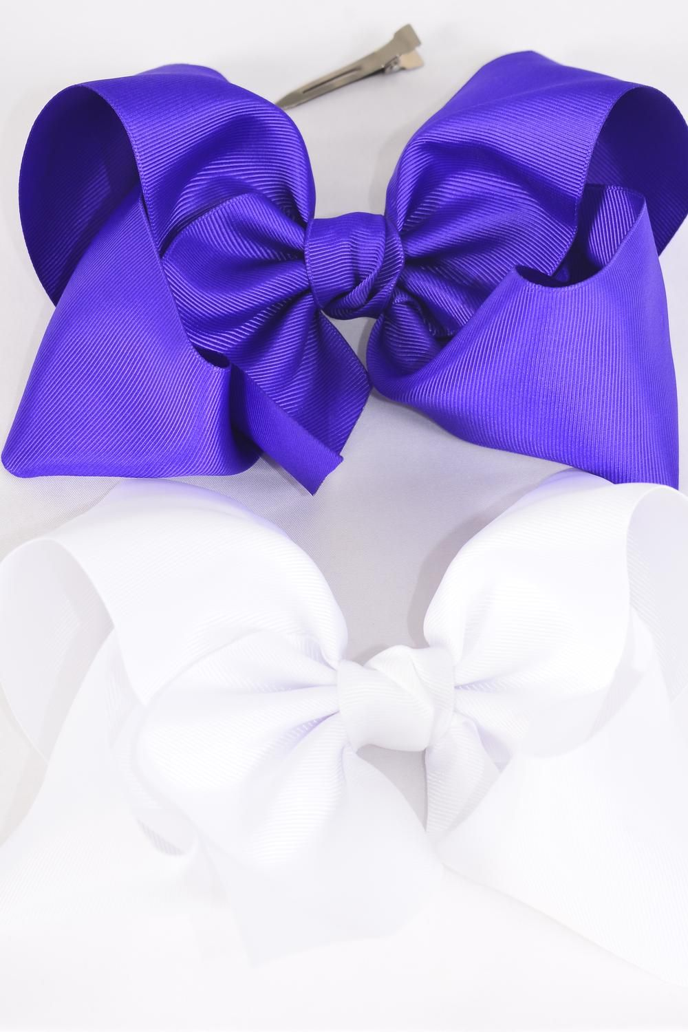 "Hair Bow Cheer Type Bow Purple & White Mix Grosgrain Bow-tie/DZ **Purple & White Mix** Alligator Clip,Size-8""x 7"" Wide,6 of each Color Asst,Clip Strip & UPC Code"