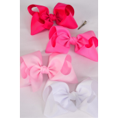 "Hair Bow Cheer Type Bow Pink Mix Alligator Clip Grosgrain Bow-tie/DZ **Pink Mix** Size-8""x 7"" Wide,Alligator Clip,3 of each Color Asst,Clear Strip,UPC Code"