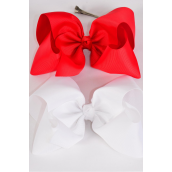"Hair Bow Extra Jumbo Cheer Type Bow Red & White Alligator Clip Grosgrain Fabric Bow-tie/DZ **Red & White** Alligator Clip,Size-8""x 7"" Wide,6 Red,6 White Asst,Clip Strip & UPC Code"