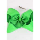 "Hair Bow Cheer Type Bow Irish Green Grosgrain Bow-tie/DZ **Irish Green** Size-8""x 7"" Wide,Alligator Clip,Clip Strip & UPC Code"