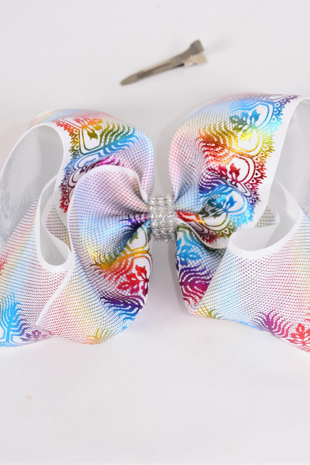 "Hair Bow Jumbo Cheer Type Bow Rainbow Metallic Holographic Center Clear Stone Grosgrain Bow-tie/DZ **Alligator Clip** Size-8""x 7"" Wide,Clip Strip & UPC Code"