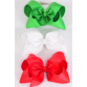 "Hair Bow Cheer Type Bow Red White Green Mix Alligator Clip  Grosgrain Bow-tie/DZ **Alligator Clip** Size-8""x 7"" Wide,4 of each Color Asst,Clip Strip & UPC Code -"