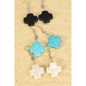 "Earrings Cross Semiprecious Stone/DZ match 70006 **Fish Hook** Size-1.75""x 1"" Wide,4 Black,4 Ivory,4 Turquoise Asst,Earring Card & OPP Bag & UPC Code -"