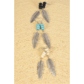 "Earrings Feather Semiprecious Stones/DZ **Fish Hook** Size-2.25""x 0.5"" Wide,4 of each Color Asst,Earring Card & OPP Bag & UPC Code"
