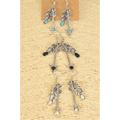 "Earrings Metal Antique Feather Arrow Mix Semiprecious Stone/DZ **Fish Hook** Size-1.75"" Long, 4 Black,4 Ivory,4 Turquoise Asst,Earring Card & OPP Bag & UPC Code -"
