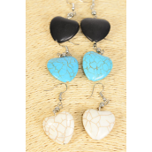 "Earrings Heart Semiprecious Stone/DZ match 25666 **Fish Hook** Size-1.25""x 1"" Wide,4 Black,4 Ivory,4 Turquoise Asst,Earring Card & OPP Bag & UPC Code"