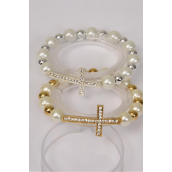 "Bracelet Sideway Cross Rhinestone 12 mm Glass Pearl & 8 mm CCB Stretch/DZ **Stretch** Cross Size-1.5""x 1"" Wide,6 Gold, 6 Silver Mix,Hang Tag & OPP bag & UPC Code"