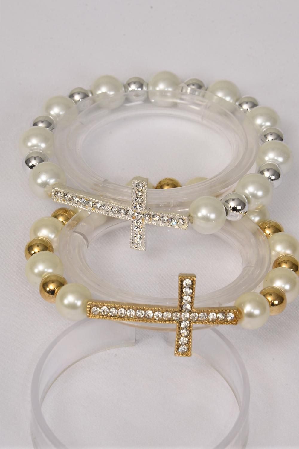 "Bracelet Side Way Cross Rhinestone 12 mm Glass Pearl & 8 mm CCB Stretch/DZ **Stretch** Cross Size-1.5""x 1"" Wide,6 Cream, 6 Silver white Pearl Mix,Hang Tag & OPP bag & UPC Code -"
