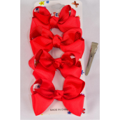 "Hair Bows 48 pcs Grosgrain Bowtie Red/DZ **Red** Alligator Clip,Bow Size-3""x 2"" Wide,4 pcs per card,12 card=Dozen"