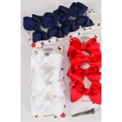 "Hair Bows 48 pcs Grosgrain Bowtie Red White Navy Mix/DZ **Red White Navy Mix** Alligator Clip,Bow Size-3""x 2"" Wide,4 of each Color Asst,4 pcs per card,12 card=Dozen"