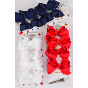 "Hair Bows 48 pcs Grosgrain Bowtie Red White Navy Mix/DZ **Red White Navy Mix** Alligator Clip,Bow Size-3""x 2"" Wide,4 of each Color Asst,4 pcs per card,12 card=Dozen"