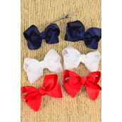 "Hair Bows 24 pcs Red White Navy Mix Grosgrain Bow-tie/DZ **Red White Navy Mix**Alligator Clip,Size-3 x 2"",4 of each Color Asst,Clip Strip & UPC Code,12 pair= Dozen"