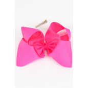 "Hair Bow Extra Jumbo Hot Pink 6""x 5"" Alligator Grosgrain Fabric Bow-tie/DZ **Hot Pink** Alligator Clip,Size-6""x 5"" Wide,Clip Strip & UPC Code"